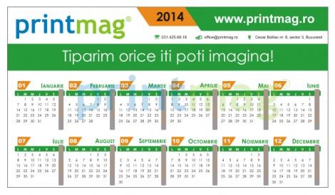 Calendar birou personalizat 2014, simplu