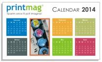 Calendar birou personalizat 2014, simplu modern white